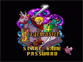 Title screen of The Pagemaster on the Nintendo SNES.