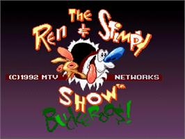 Title screen of The Ren & Stimpy Show: Buckaroo$! on the Nintendo SNES.