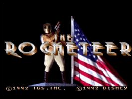 Title screen of The Rocketeer on the Nintendo SNES.