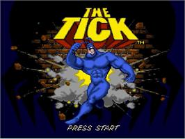 Title screen of The Tick on the Nintendo SNES.