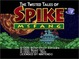 Title screen of The Twisted Tales of Spike McFang on the Nintendo SNES.