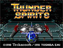 Title screen of Thunder Spirits on the Nintendo SNES.