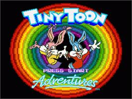 Title screen of Tiny Toon Adventures: Buster Busts Loose! on the Nintendo SNES.