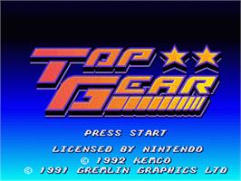 Title screen of Top Gear on the Nintendo SNES.