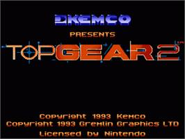 Title screen of Top Gear 2 on the Nintendo SNES.