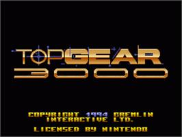 Title screen of Top Gear 3000 on the Nintendo SNES.
