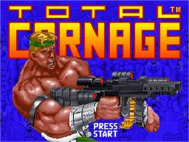 Title screen of Total Carnage on the Nintendo SNES.