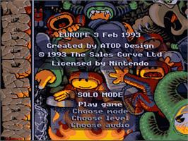 Title screen of Troddlers on the Nintendo SNES.
