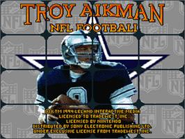 Title screen of Troy Aikman NFL Football on the Nintendo SNES.