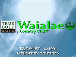Title screen of True Golf Classics: Waialae Country Club on the Nintendo SNES.