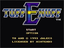 Title screen of Tuff E Nuff on the Nintendo SNES.