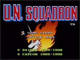 Title screen of U.N. Squadron on the Nintendo SNES.