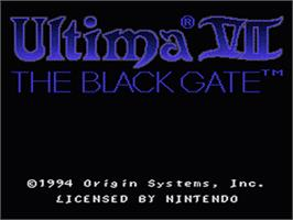 Title screen of Ultima VII: The Black Gate on the Nintendo SNES.