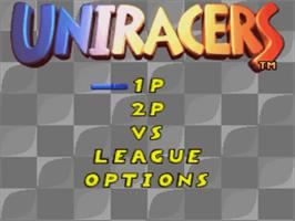 Title screen of Uniracers on the Nintendo SNES.