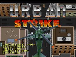 Title screen of Urban Strike on the Nintendo SNES.