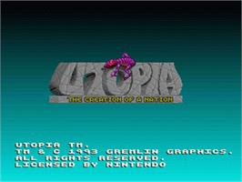 Title screen of Utopia: The Creation of a Nation on the Nintendo SNES.