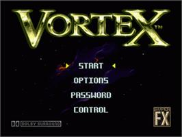 Title screen of Vortex on the Nintendo SNES.