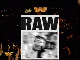 Title screen of WWF Raw on the Nintendo SNES.