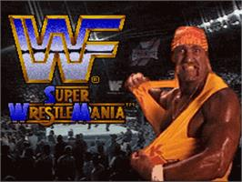 Title screen of WWF Super Wrestlemania on the Nintendo SNES.