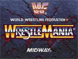 Title screen of WWF Wrestlemania: The Arcade Game on the Nintendo SNES.