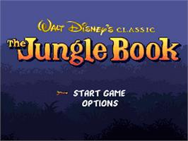 Title screen of Walt Disney's The Jungle Book on the Nintendo SNES.