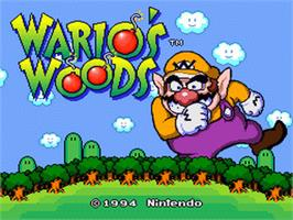Title screen of Wario's Woods on the Nintendo SNES.