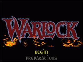 Title screen of Warlock on the Nintendo SNES.