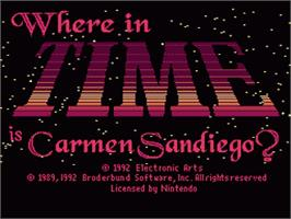 Title screen of Where in Time is Carmen Sandiego? on the Nintendo SNES.
