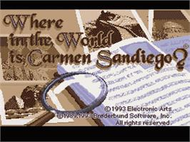 Title screen of Where in the World is Carmen Sandiego? on the Nintendo SNES.