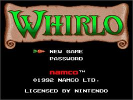 Title screen of Whirlo on the Nintendo SNES.