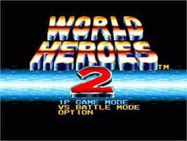 Title screen of World Heroes 2 on the Nintendo SNES.