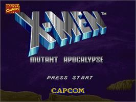 Title screen of X-Men: Mutant Apocalypse on the Nintendo SNES.