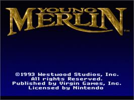Title screen of Young Merlin on the Nintendo SNES.