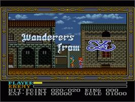 Title screen of Ys III: Wanderers from Ys on the Nintendo SNES.