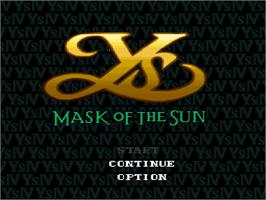 Title screen of Ys IV: Mask of the Sun on the Nintendo SNES.