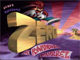 Title screen of Zero the Kamikaze Squirrel on the Nintendo SNES.