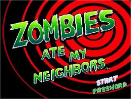 Title screen of Zombies Ate My Neighbors on the Nintendo SNES.