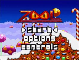 Title screen of Zool on the Nintendo SNES.