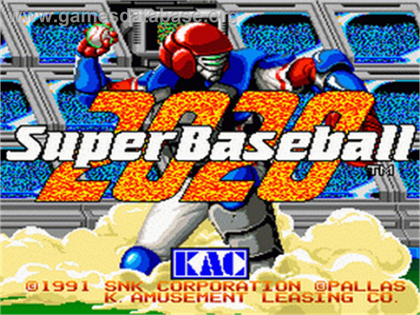 Title screen of 2020 Super Baseball on the Nintendo SNES.