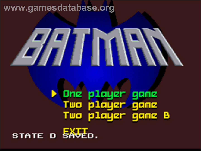 Title screen of Batman: Revenge of the Joker on the Nintendo SNES.