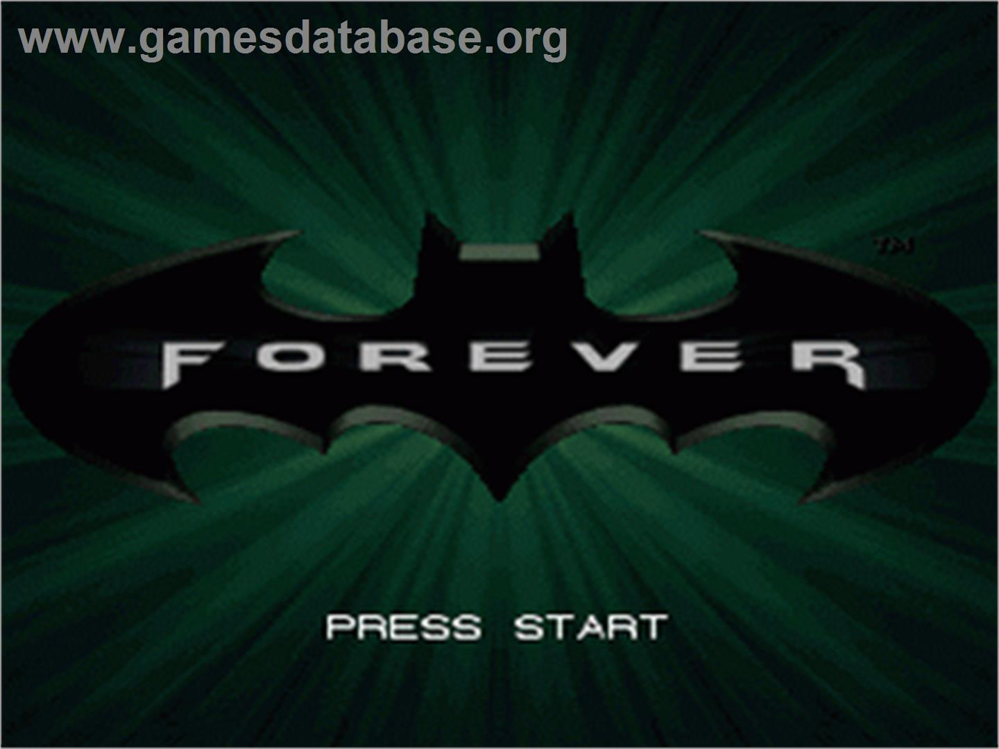 Title screen of Batman Forever on the Nintendo SNES.