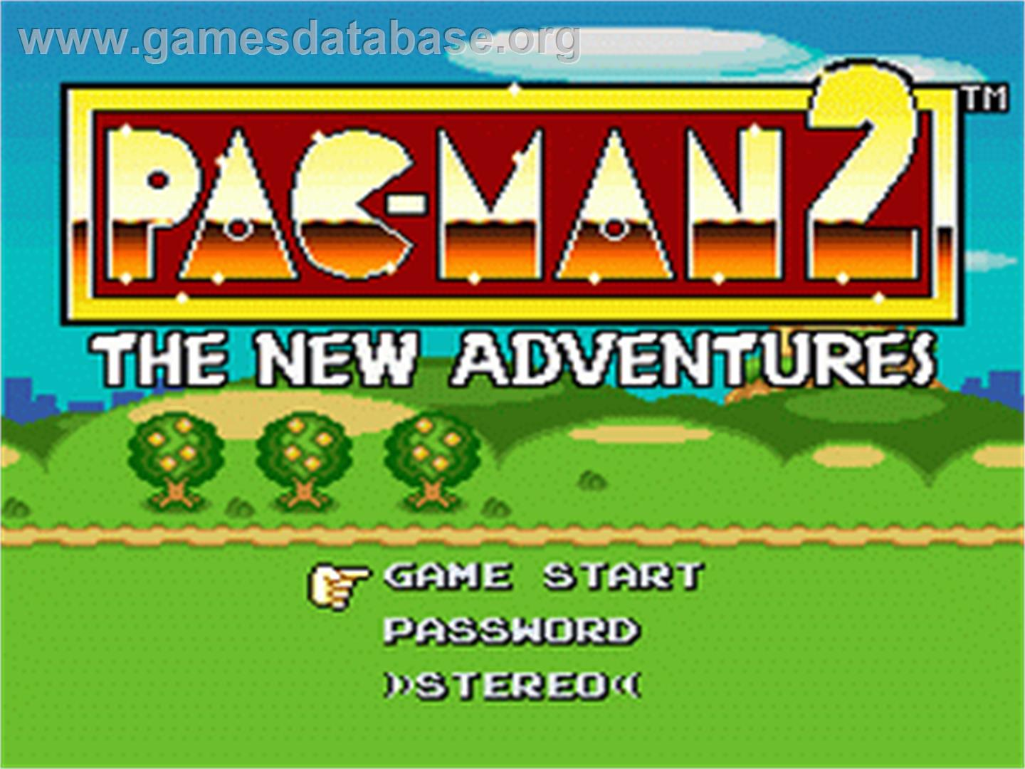 Title screen of Pac-Man 2: The New Adventures on the Nintendo SNES.