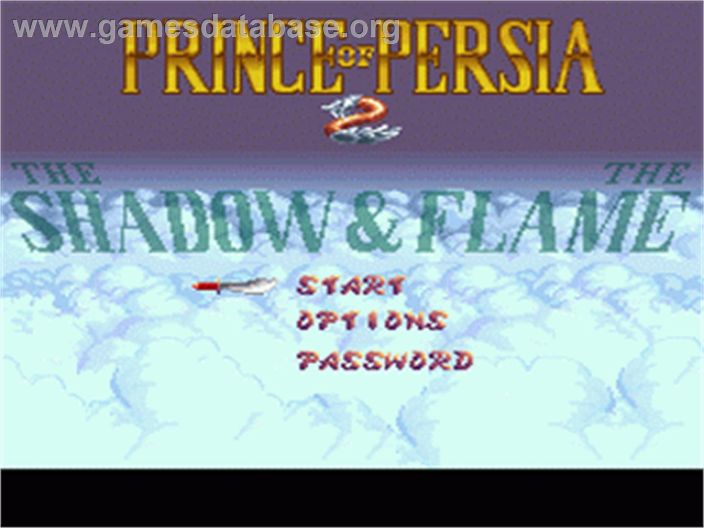 Prince of Persia 2: The Shadow & The Flame - Nintendo SNES - Artwork - Title Screen