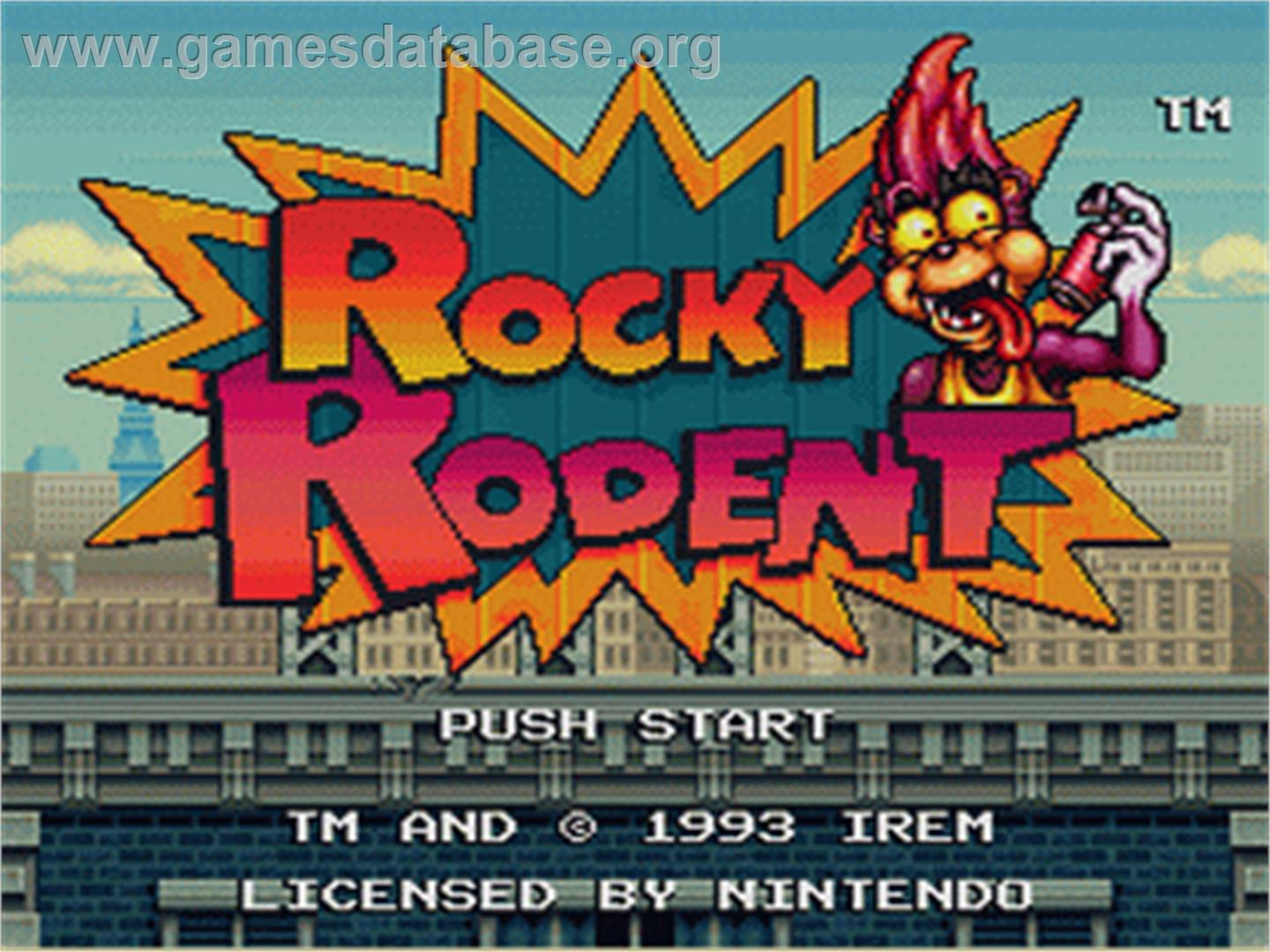 Rocky Rodent - Nintendo SNES - Artwork - Title Screen