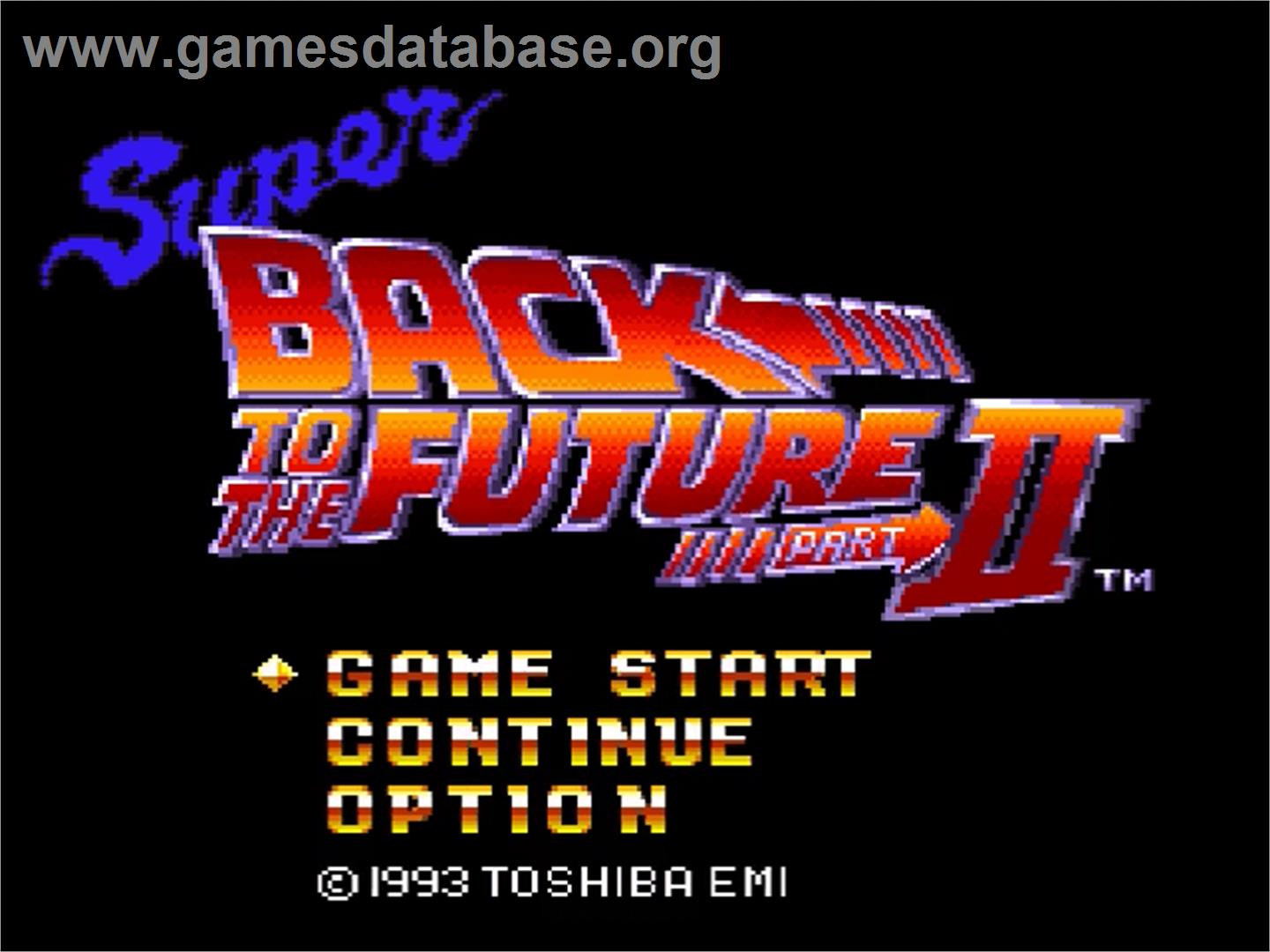 Screen of super back to the future part ii on the nintendo snes