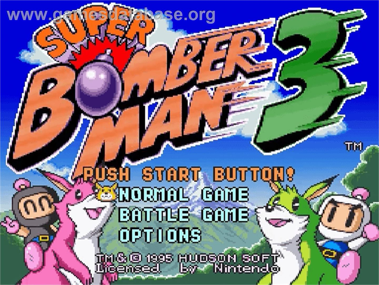 Super Bomberman 3 Nintendo Snes Games Database