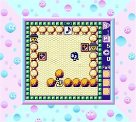 In game image of Adventures of Lolo on the Nintendo Super Gameboy.