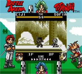 In game image of Battle Arena Toshinden on the Nintendo Super Gameboy.