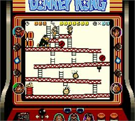 In game image of Donkey Kong on the Nintendo Super Gameboy.