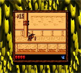 In game image of Donkey Kong Land 2 on the Nintendo Super Gameboy.